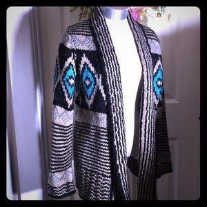 💜Pink Republic Cardigan size Large Aztec Colorful